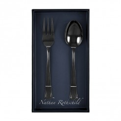 NR201B-NR Grecian Serving Fork & Spoon Set Black-01