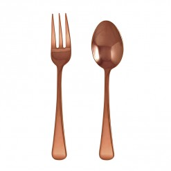 NR202RG-NR Tudor Serving Fork & Spoon Set Rose Gold-02