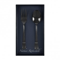 NR203B-NR Tudor Serving Fork & Spoon Set Black-01